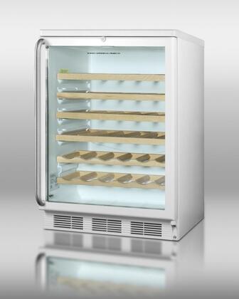 SWC6GWLSHWO Glass Door Wine Cellar With 48 Bottle Capacity  Factory Installed Lock  Hidden Evaporator  Interior Light & Adjustable