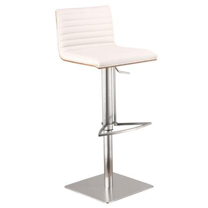 Cafe Collection LCCASWBAWHB201 Bar Stool with Adjustable Height  Swivel Seat  Walnut Veneer Back  Footrest Support  Brushed Stainless Steel Pedestal Base and