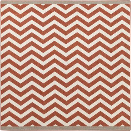 Alfresco ALF9647-89SQ 8'9 inch  Square 100% Polypropylene Rug with Low Pile  Loop Texture  and Machine Made in Egypt in Cherry and