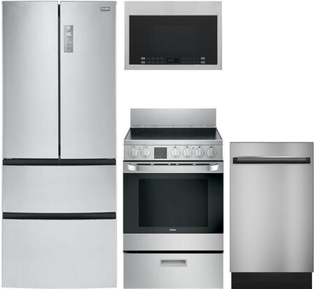 4-Piece Stainless Steel Kitchen Package with HRF15N3AGS 28 inch  French Door Refrigerator  HCR2250AES 24 inch  Electric Freestanding Range  QDT125SSKSS 18 inch  Built In