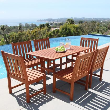 V189SET21 Malibu Eco-friendly 7-Piece Outdoor Hardwood Dining Set with 1x Rectangle Table (V189) and 6x Armless Chairs
