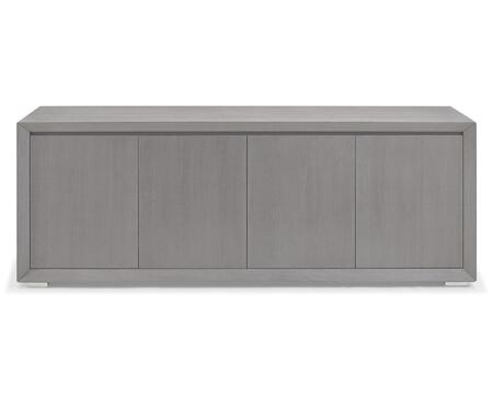 SB1395GRY Pendenza Buffet  4 Door With Gray Oak Veneer And Polished Stainless Steel Body And Technical Veneer On Back Of
