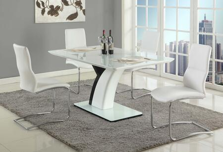 Natasha-piper-5pc Natasha Dining 5 Piece Set 5mm Starphire Glass With Wood Dining Table And 4 White Cantilever Curved Back Side