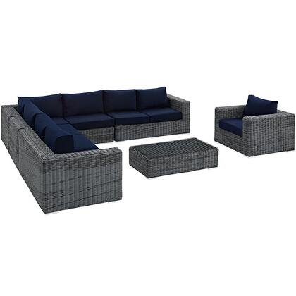 Summon Collection EEI-2014-GRY-NAV-SET 7 Piece Outdoor Patio Sunbrella Sectional Set with Left Arm Facing Loveseat  2 Armless Chairs  Corner Chair  Right Arm