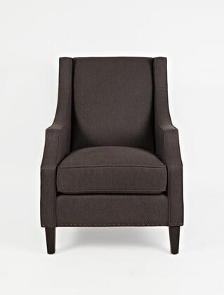 Easy Living Morgan Collection MORGAN-CH-CHARCOAL 18 inch  Accent Chair with Nail Head Trim  Dark Arabica Tapered Legs  Removable Seat Cushion  Track Arms and Fabric