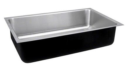 Stylist Undermount Series USXD1824A 18 inch  Single Bowl Undermount Sink with 18 Gauge Stainless Steel Construction  Fully Coated Underside and Seamless Die-Drawn