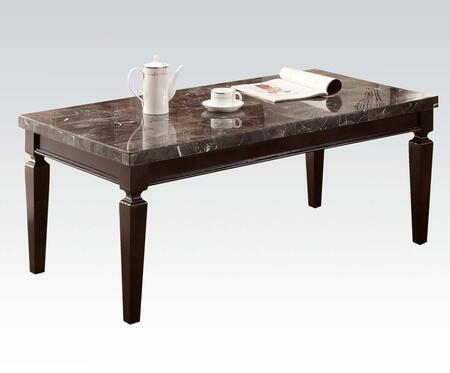 Agatha Collection 80485 Coffee Table with Black Marble Top  Rectangular Shape and Tapered Legs in Espresso