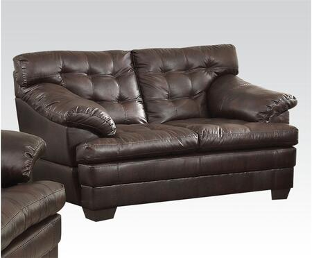 Neonard Collection 50821 Loveseat with Tufted Cushions  Plush Padded Arms and Bonded Leather Match Upholstery in Dark Brown