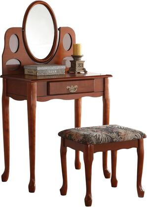 Aldine Collection 90210 28 inch  Vanity Set with Vanity  Stool  Mirror  Felt Lined Drawer  Suede Padded Seat Cushion and Red Oak Veneer Materials in Oak