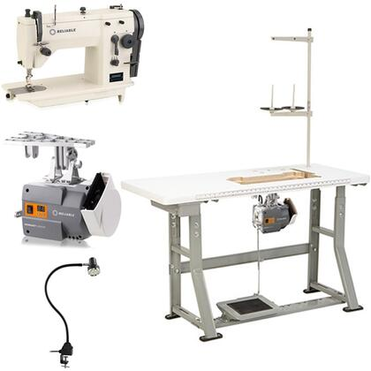 Reliable 2200SZ Zig-Zag Sewing Machine W/ SewQuiet Servo Motor, Hirose Sewing Hook, 2,000 RPM, Automatic Lubricated Hook, Needle Bar & Memory Lock, Include UberLight 3000TL, Heavy-duty K-legs & Table