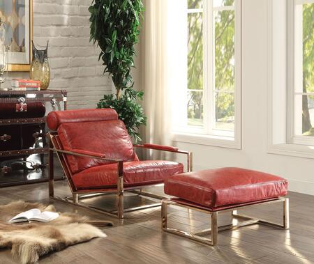 Quinto Collection 96672SET 2 PC Living Room Chair Set with Accent Chair + Ottoman in Antique Red