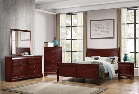 Louis Philippe Collection 222411F-S5 5-Piece Bedroom Set with Full Size Bed  Dresser  Mirror  Nightstand and Chest in
