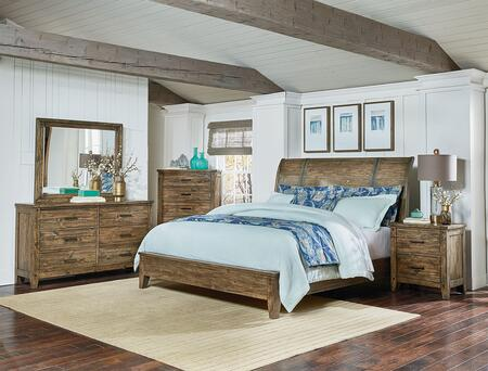 Nelson Collection 6-Piece Queen Bedroom Set with Sleigh Bed  Dresser  Mirror  2x Nightstands and Chest in