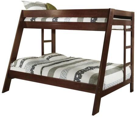 Arizona Collection CM-BK358EXP-BED Twin Over Full Bunk Bed with Both Sides Ladder  Top and Bottom Slats  Solid Wood and Wood Veneers Construction in Dark