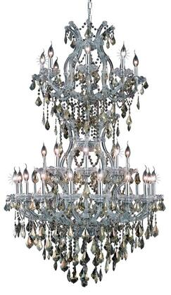 2800D36SC-GT/RC 2800 Maria Theresa Collection Large Hanging Fixture D36in H56in Lt: 32+2 Chrome Finish (Royal Cut Golden Teak