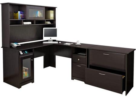 Cabot WC31830-03K-31-80 2-Piece Desk and Hutch Set with Lateral File Cabinet in Espresso