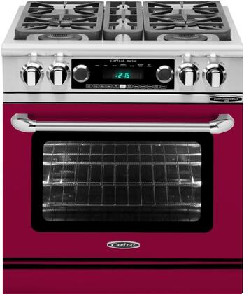 CSB304CN 30 inch  Connoisseurian Series Natural Gas Dual Fuel Range with 4 Sealed Burners  Moto-Rotis  Meat Probe and Flex-Roll Oven Racks  in Wine