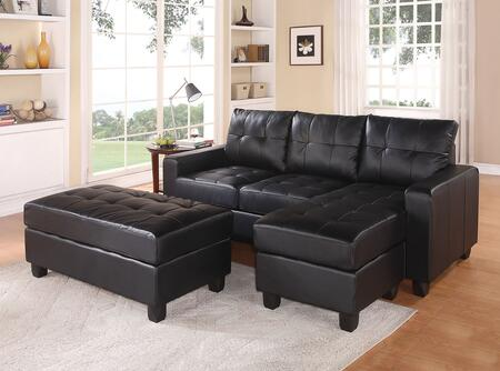 Lyssa 51215 83 inch  Reversible Sectional Sofa with Chaise  Ottoman  Wood Frame  Loose Seat Cushion  Pocket Coil Seating and Bonded Leather Match in Black