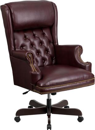 CI-J600-BY-GG High Back Traditional Tufted Burgundy Leather Executive Office