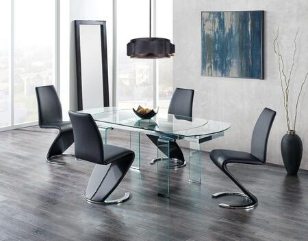 D2160DT4D9002DC-BL 5-Piece Dining Room Set with Dining Table and 4 Dining Chairs in Clear Glass and