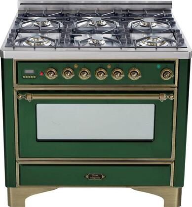 "UM-906-DMP-VS-Y 36"" Majestic Series Dual Fuel Range with 3.55 cu. ft. Oven Capacity  6 Burners  Electronic Ignition  Digital Clock and Timer  and Oiled Bronze"