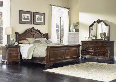 Highland Court Collection 620-BR-QSLDMN 4-Piece Bedroom Set with Queen Sleigh Bed  Dresser  Mirror and Night Stand in Rich Cognac