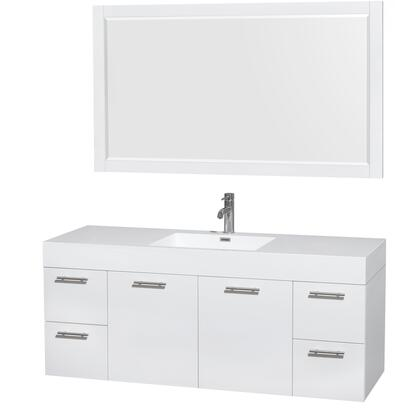 Wcr410060sgwarintm58 60 In. Single Bathroom Vanity In Glossy White  Acrylic Resin Countertop  Integrated Sink  And 58 In.