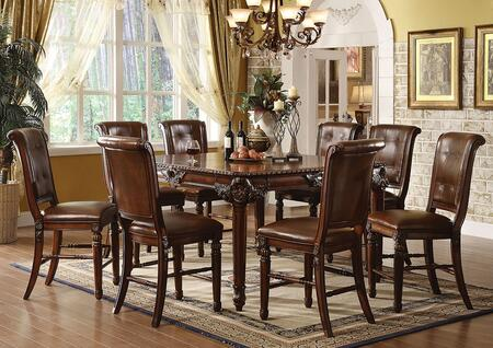 Winfred 60080T8C 9 PC Bar Table Set with Counter Height Table + 8 Chairs in Cherry