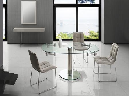 Thao Collection CBT030LSET 5 PC Dining Room Set with Extendable Clear Glass Top Dining Table and 4 Grey Eco-Leather Upholstered Dining
