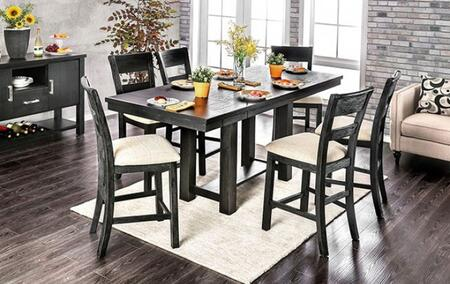 Thomaston Collection CM3543PT6PCSV 8-Piece Dining Room Set with Rectangular Table  6 Side Chairs and Server in Brushed Black