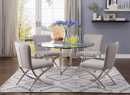 Daire Collection 711804SET 5 PC Dining Room Set with Glass Top Dining Table and 4 Velvet Upholstered Side Chairs in Chrome