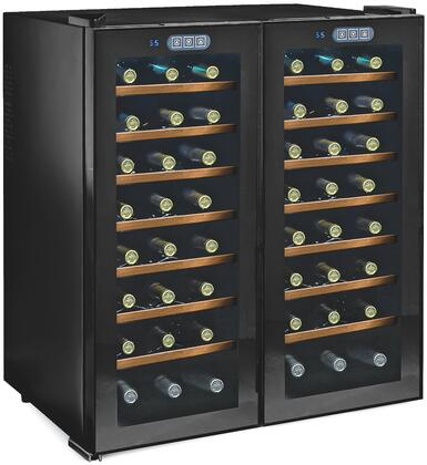 272480351W Thermoelectric Energy Efficient Dual Zone Wine Cooler with 48 Bottle Capacity  Silent Cooling Technology  Wood Front Shelves  and LED Lighting: