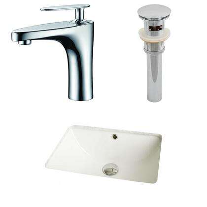 AI-12995 18.25-in. Width x 13.5-in. Diameter CUPC Rectangle Undermount Sink Set In Biscuit With Single Hole CUPC Faucet And