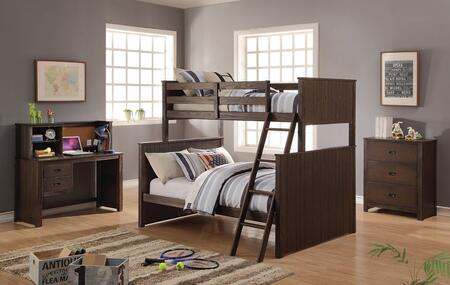 Hector Collection 380204PC Bedroom Set with Twin Over Full Bunk Bed + Chest + Desk + Hutch in Antique Charcoal Brown