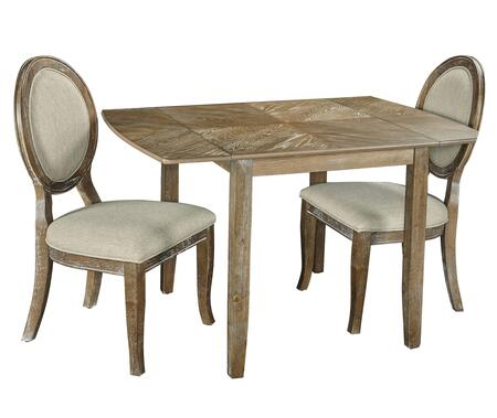 McKenzie D1110D17PC3 3-Piece Dining Set with Extendable Table and 2 Side Chairs in Woodgrain