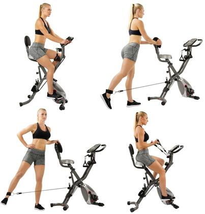 SF-B2710 Total Body Bike with Elastic Resistance Bands  Foot Pedals  Adjustable Cushioned Seat  Portable Wheels and Digital Monitor in Grey