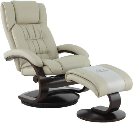 Oslo Collection 51-97-625 19 inch  Narvick Recliner and Ottoman with Swivel Function  Memory Foam Seating  Lumbar Support and Air Leather Upholstery in Beige