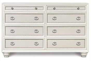 B2344-20 Diamond Collection 8 Drawer Dresser in High Gloss White