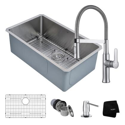 KHU100-30-1640-42CH Kitchen Combo with Handmade Undermount Stainless Steel 30 in. Single Bowl 16 Gauge Kitchen Sink and Nola Single Handle Flex Commercial