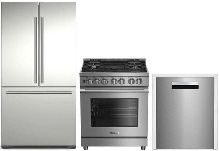 3-Piece Kitchen Package with BRFD2230SS 36 inch  French Door Refrigerator  BDFP34550SS 30 inch  Freestanding Dual Fuel Range  and DWT58500SS 24 inch  Built In Fully