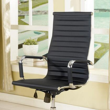 Barcelos CM-FC618L-BK High-Back Office Chair with Contemporary Style  Pneumatic Ht. Adjustable Seat  Padded Leatherette Chair  Metal Base and Sturdy Wheel Legs