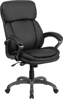 BT-90272H-GG High Back Black Leather Executive Swivel Office Chair with Lumbar Support