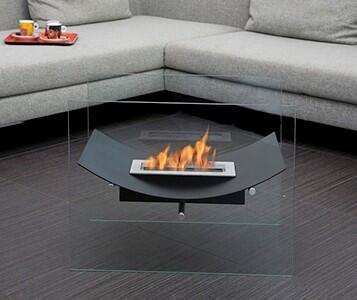 Veniz Collection BB-VB-G Freestanding Ethanol Fireplace  2 Tempered Glass Panels and 1 Linear Burner in