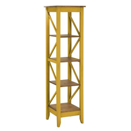 """Jay 2.0 Collection CS34002 19"""" Solid Wood Bookcase with 4 Open Shelves and Lifted Base in Yellow"""