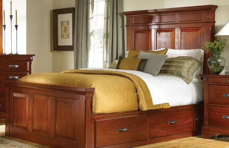 KALRM5031 Kalispell Mantel Bed with Storage Constructed in Solid Plantation Mahogany with Bolt on Bed Rails and Metal Ball Bearing Glides in Rustic Mahogany