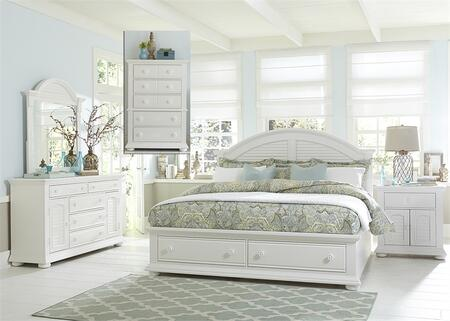 Summer House I Collection 607-BR-KSBDMCN 5-Piece Bedroom Set with King Storage Bed  Dresser  Mirror  Chest and Night Stand in Oyster White