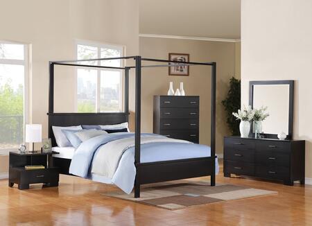 London 20046EK5PC Bedroom Set with Eastern King Size Bed + Dresser + Mirror + Chest + Nightstand in Black