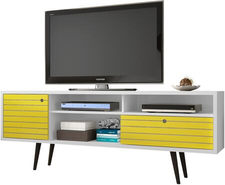 """Liberty Collection 202AMC64 71"""" Mid Century - Modern TV Stand with Solid Wood Legs  4 Shelving Spaces and 1 Drawer in White and"""