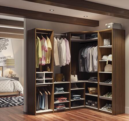 80857-30 Classic Corner Walk-in Closet In Oak Barrel And