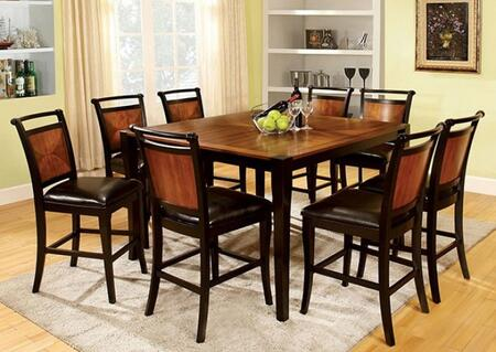 Salida II Collection CM3034PT8PC 9-Piece Dining Room Set with Square Counter Height Table and 8 Counter Height Side Chairs in Acacia and Black